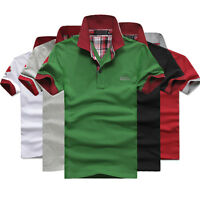 Men's Casual Cotton Tip Collar Polo Shirt T-shirt Plain Fit Short Sleeve Tee Top