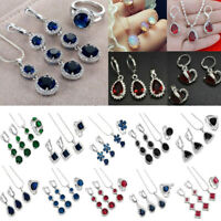 Women 925 Silver DIY Moonstone Crystal Ring+Earrings+Necklace Chain Jewelry Set