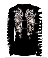 bling bling Angel Wings Rhinestone Shirt Ripped Slit Cut Out long T-Shirt