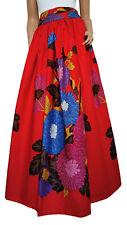 'Red Demona' African Print Full Length / Maxi Skirt 100 % Wax Cotton Handmade UK