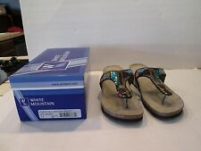 NEW Women's Shoes Size 11M White Mountain  Flip Flop Wedge Sequin w/BOX