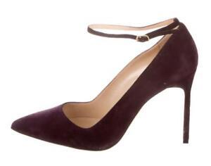 $645 NEW MANOLO BLAHNIK BB 39 Suede Ankle Strap Stiletto Pumps Shoes