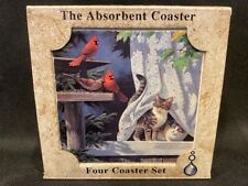 AbsorbaStone - Absorbent Coasters – Set of 4 – Cats and Cardinals