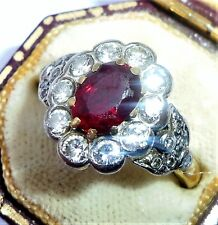 Large Art Deco Style 18ct Gold Pigeon Blood Ruby & Diamond Ring, Size M 1/2