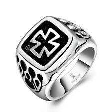 Eisernes Kreuz Ring Edelstahl Biker Freimaurer Tempelritter Harley Herren Silber
