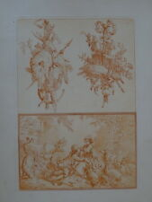 J-B. HUET (1745-1811) BELLE GRAVURE SANGUINE ALLÉGORIE PASTORALE AMOUR CHASSE