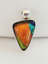 925 Sterling Silver DICHROIC GLASS Slide Pendant Shades of Blue Orange Yellow