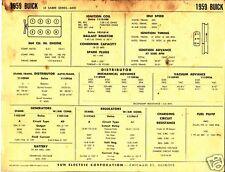 1959 BUICK LE SABRE SERIES 4400 364ci V8 Engine Car SUN ELECTRONIC SPEC SHEET