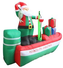 Christmas Air Blown Inflatable Yard Decoration Santa Claus Fishing Boat Gift Box