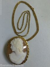 """Vintage Gold Filled Carved Shell Cameo Pendant on 24"""" Gold Filled Chain"""