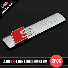Silver S-LINE Side Fender Marker Logo Emblem Decal Badge Sticker Decoration 2Pcs