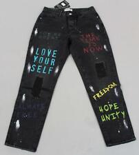 Redial Women's Premium Denim Destroy Boyfriend Jeans GS2 Black Size US:6x28 NWT