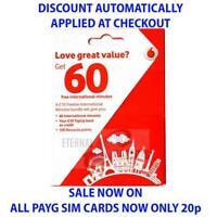 PAYG VODAFONE FREEBIE INTERNATIONAL SIM CARD ONLY 20p (DISCOUNT AUTO APPLIED)