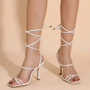 Women Square Toe Lace-Up Slingbacks Stiletto Strappy Sandal High Heel Party Shoe