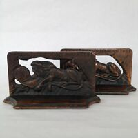 Lion of Lucerne Bookends Set Vintage Antique Copper Washed Cast Iron