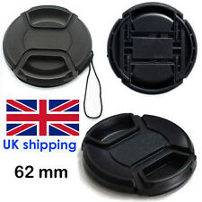 62 mm Lens Cap Pinch Type Eg Canon Nikon etc Standard Lens Fit UK Seller