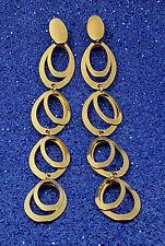 18K Oro Lleno elegante italiano cuelgan los enlaces 18ct GF dejar pendientes 11.5cm