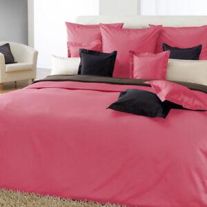 Curt Bauer Uni Mako Satin Bettwäsche Kissenbezug oder Spannbettlaken 3746 pink