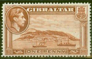 Gibraltar 1938 1d Yellow-Brown SG122 P.14 Fine Lightly Mtd Mint