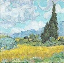 Lot de 2 Serviettes en papier Van Gogh Champ de Blé avec Cyprès Decoupage