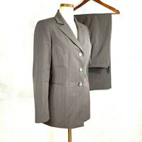 Kasper Womens Taupe Striped Career Pant Suit 6