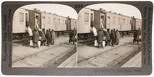 Keystone Stereoview of Boarding a Train in Siberia, RUSSIA 1910's Education Set