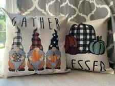 Set of 2 Farmhouse Décor Buffalo Check Plaid Gnomes Pumpkin Fall Pillow Covers