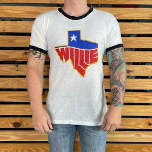 Willie Nelson 84 Mens Screen Stars Graphic T Shirt White Black Vintage Tee XL