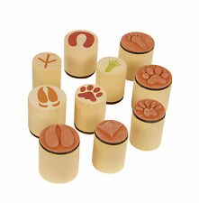 Stempelset Tierspuren 10-teilig, Tierspuren Holzstempel, Tierspurenstempel