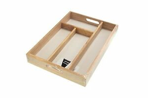 Cutlery Tray Utensil Holder Rubber Wood Spoons Forks Knives Storage 24x34x4.5cm