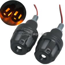 Pair Universal Amber LED Indicator Handle Bar End Grip Plug Turn Signal Light