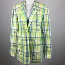 Adolfo Studio 12 Blazer Jacket 1 Button Slit Pocket Linen Cotton Preppy