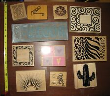 Assorted Craft Card Makers Rubber Stamps Lot 11 Decorative Mounted Wood Block