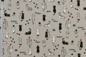 Love Cats Fabric - Quality Upholstery, Curtain, Cotton Fabric