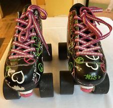 PACER Heart Throb Quad Speed ROLLER SKATES Womens Sz 6 Black Pink Green White