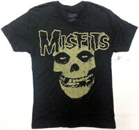 Misfits VINTAGE SKULL V-Neck T-Shirt Heather Black NWT Licensed & Official RARE