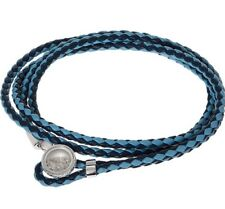 TATEOSSIAN  Blue Leather Wrap Bracelet Size L-40cm