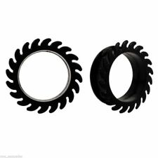 """Tunnels 24mm/15/16"""" Gauge Body Jew Pair-Flexi Sawblade Double Flare Silicone Ear"""