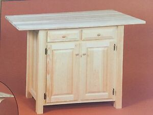 NEW - AMISH Unfinished Solid Pine Kitchen Island Rustic Wood Handmade!