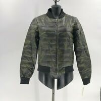 Lucky Brand womens Camo Bomber Jacket puffer coat down waterfowl fill sz M NWT