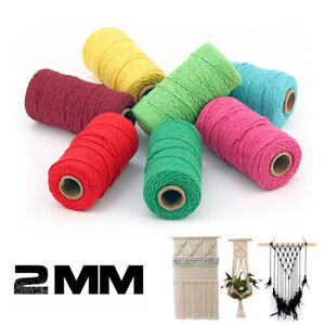 2mm 100 Yards Macrame Cord Cotton Thread Rope Twisted Braided String DIY Crafts