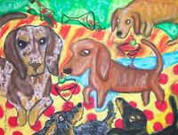 DACHSHUND Martini Madnes Vintage Style Pop Folk Art Print 8x10 Dog Collectible