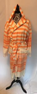 100% Cotton Super Soft Turkish Peshthemal Bathrobe - Orange & White Stripe