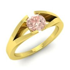0.40 Ct Certified Morganite 10K Yellow Gold Solitaire Ring Size J K L M N O P R