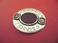 Chanel vintage cc logo purple color poured glass pin brooch