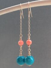Turquoise Gemstones & Vintage Angel Skin Coral 14ct Rolled Gold Earrings