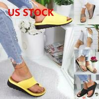 US Women Comfy Platform Sandal Ladies Shoes -PU LEATHER- Bunion Corrector GEMS