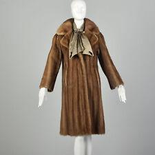 Small 1950s Mink Fur Swing Coat Classic Mid Length Winter Silk Scarf Pockets VTG