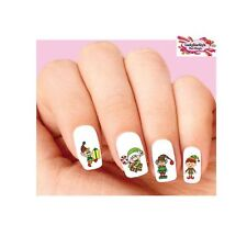 Waterslide Nail Decals Set of 20 - Holiday Christmas Elf Candy Cane Assorted