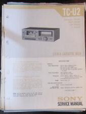 Sony TC-U2 cassette deck service repair workshop manual (original)